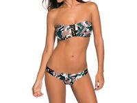 Camouflage Pattern Bandeau Low Rise Bikini Swimsuit size 10 & 12 NEW
