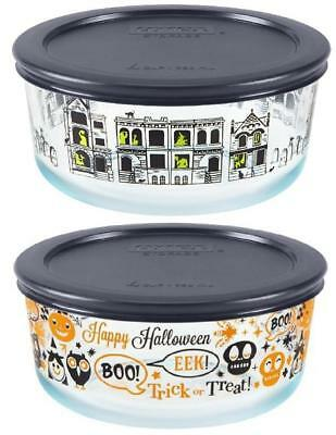 Pyrex 4 Cup HALLOWEEN Storage SPOOKY FUN /Haunted Mansion Cemetery FRIGHT NIGHT