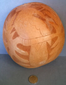 vintage carved giant coconut shell