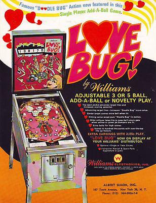 Love Bug Pinball FLYER Original NOS Williams 1971 Artwork Groovy Mod Psychedelic