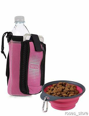 NEW Pink Bottle Holder Insulated Neoprene with Travel Cup Bowl for Dogs by Dexas