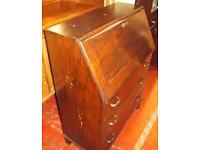 Oak veneer vintage writing bureau desk