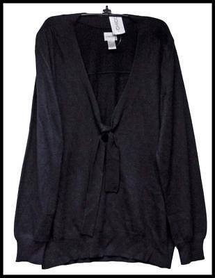 Chicos Apparel Drop Tie Faye Sweater Black Chicos Size 1   8 10 Nwt  79