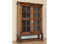 Attractive Large Vintage Carved Oak Double Glazed Door Floor Bookcase Cabinet