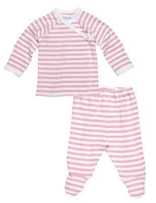 Under the Nile Organic Cotton Side-Snap Layette Set: Blush Pink Stripes Side Snap Layette Set