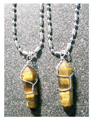 "12 Stainless Steel 24"" Ball Chain Necklace W Tigers Eye S..."