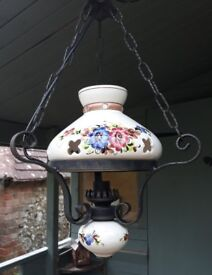 Oil lamp style cottage ceiling light in cast iron and hand painted ceramics