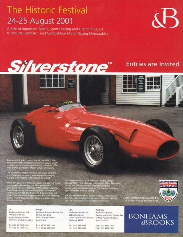 2000 Silverstone Historic Print-Ad /  Great Art/ 1957 Maserati F1/ Bonhams