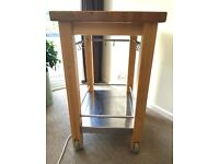 PINE AND STAINLESS STEEL ISLAND PREP TABLE WITH HOOKS AND STORAGE SHELF