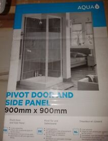 Shower pivot door panel with Shower Tray