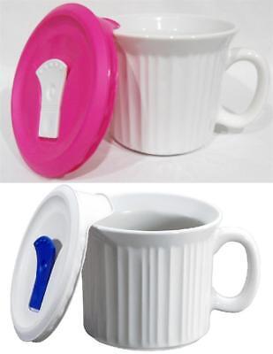 WHITE or PINK Pop-Ins Lid 20-oz MEAL MUG Stoneware Corningware French Colours Corningware French White Pop