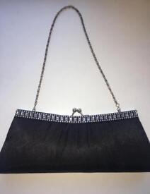 Black diamanté handbag