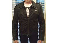 SUPERDRY MEN'S BLACK LEATHER JACKET