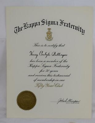 Kappa ,Sigma Fraternity 50 Year Club Certificate MINT