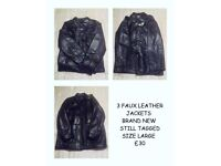 3 X LEATHER JACKETS BRAND NEW