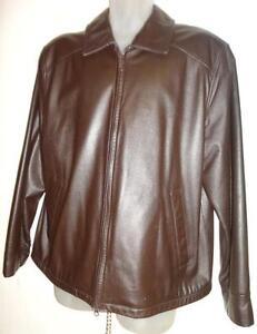 Oakville NEW DANIER Mens L Leather Zip Jacket // 42 Large Reg // BUTTERSOFT DARK BROWN Fall Coat NEW
