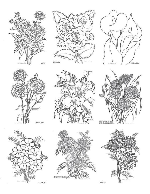 Hand Embroidery 32 Flowers for Quilts, Pillows, Aprons, Repo iron on transfer