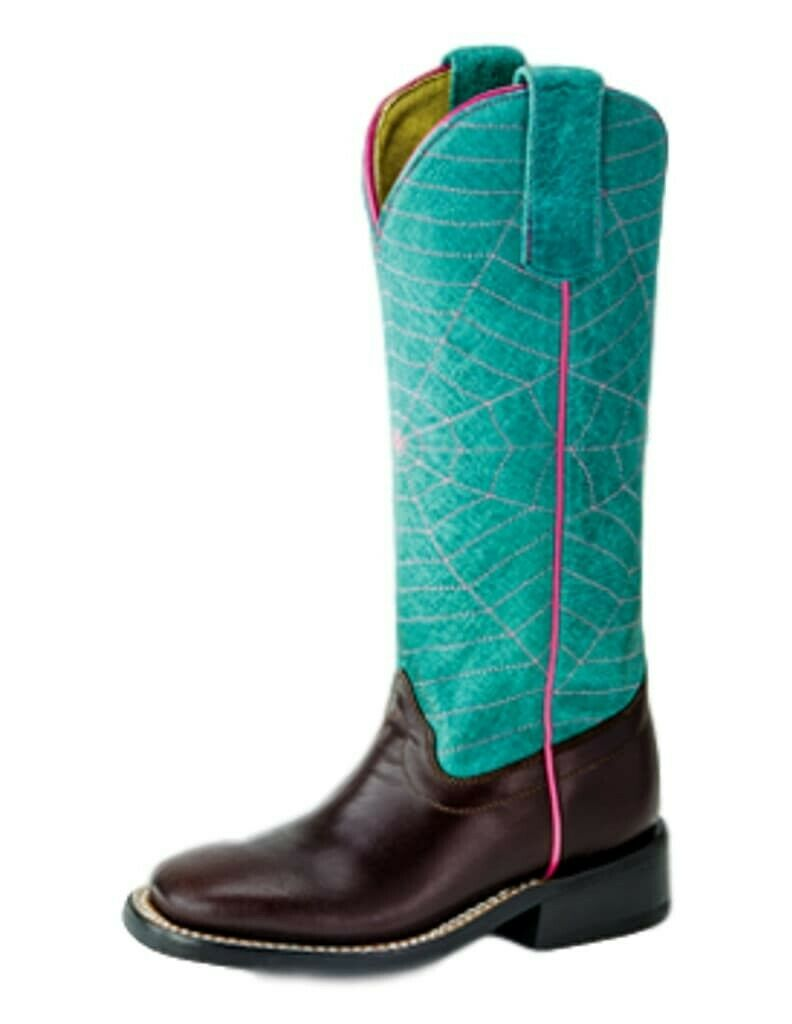 Olathe Western Boots Girls Piping Roper 2 Child Chocolate Turq OKSP9