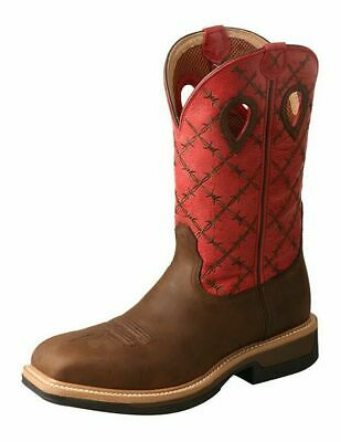 Twisted X Work Boots Mens Lite Cowboy Work Boots Waterproof Flash Red MLCWW04 - Cheap Mens Cowboy Boots