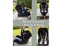 Recaro Privia car seat & isofix base for sale excellent condition