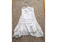 River Island White Halter Neck Dress With silver thread stripe UK Size 10