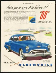1949 large, full-page color magazine ad for Oldsmobile