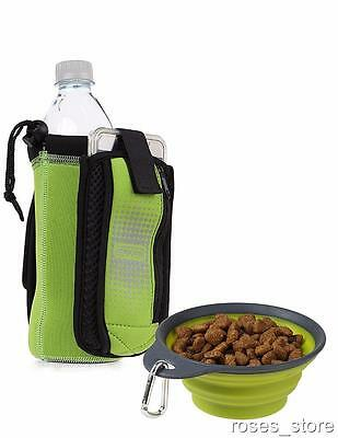 NEW Green Bottle Holder Insulated Neoprene with Travel Cup Dog Bowl by Dexas