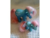 A set of 2 My Little Pony (Generation 1) Horses. A Large Bowtie and Baby Bowtie.