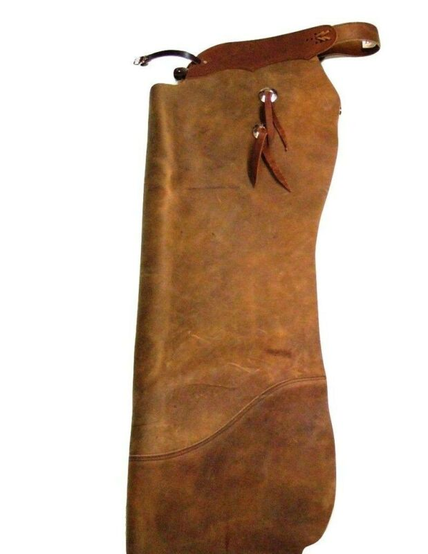 B Bar B Western Chap Adult Batwing Leather Snap Dee Earth Tone Brown