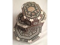 GENUINE AFRICA MOROCCAN WOOD -HANDCRAFT DESIGN JEWELLERY BOX, NACRE , GIFTS SET