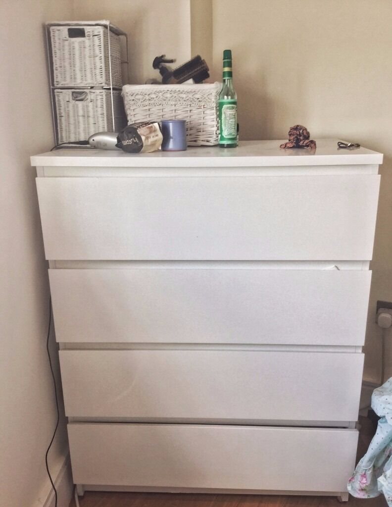 Price drop ikea assembled chest of drawers white malm