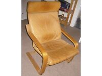 Vintage Ikea Poang Chair - Beautiful brown leather
