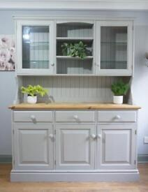 Pine dresser, sideboard, display cabinet hand painted farrow and ball pavilion grey