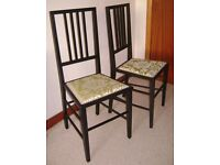 TWO EARLY 20TH CENTURY SOLID OAK OCCASIONAL CHAIRS