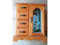 Wooden Jewellery Box / Chest With Drawers, Necklace Hangers, Mirror, Glass Door