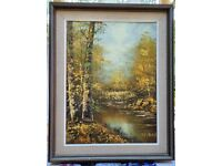 """Two Original Impasto Oil Paintings of 1970s vintage art: Riverscapes 16"""" x 12"""" canvas in Frame"""