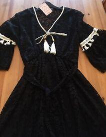 Black Lace Effect Dress Knee Length UK Size 10-12 BRAND NEW ITEM - RETAIL PRICE £44.99