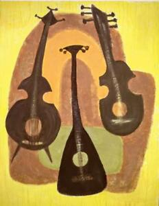"Oakville Large 28x36"" Retro Art Original Painting Musical Instruments Stringed Music Jazz Classical Mid-Century Colors"