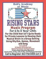 Bob's Music Downtown Pembroke-RisingStars Music for 6 to 8 years