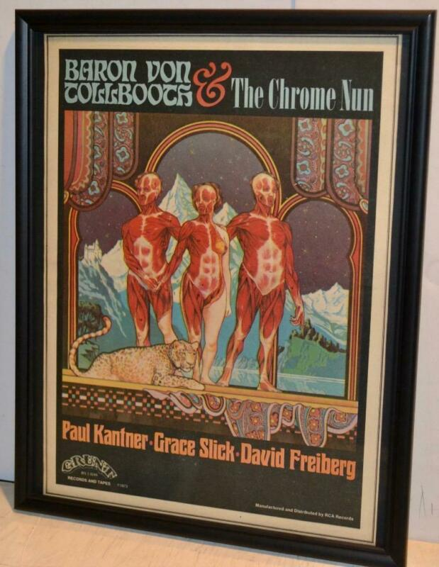 BARON TOLLBOOTH CHROME NUN 1973 JEFFERSON AIRPLANE LP FRAMED POSTER / AD KANTER