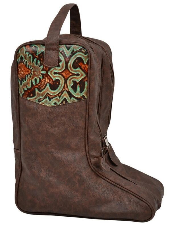 3D Western Boot Bag Floral Embossed Overlay Faux Leather Brown DBB22
