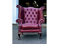 Chesterfield wingback queen anne leather armchair in London tan DELIVERY AVAILABLE