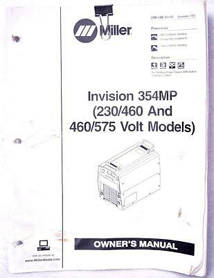 Miller Invision 354mp 230460 460575 Volt Owners Manual Om-188 304w Welding