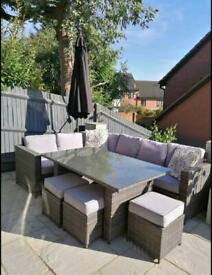 FREE DELIVERY BROWN RATTAN GARDEN CORNER SOFA, GLASS TOP TABLE & STOOLS WITH CUSHIONS
