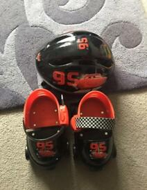 Lightening McQueen roller skates, helmet, knee and elbow pads.
