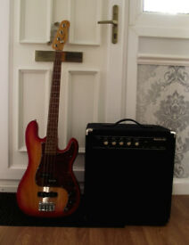 Bass Guitar & 50watt Carlsbro bass amp.