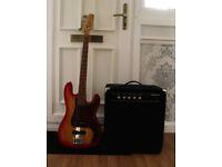 Bass Guitar & 50watt Carlsbro bass amp.