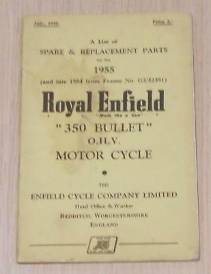 ROYAL ENFIELD 350 Bullet Motorcycle Owners Parts List Jul 1955 #440/ 2 1/2 M. 75