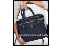 Navy faux fur trimmed handbag