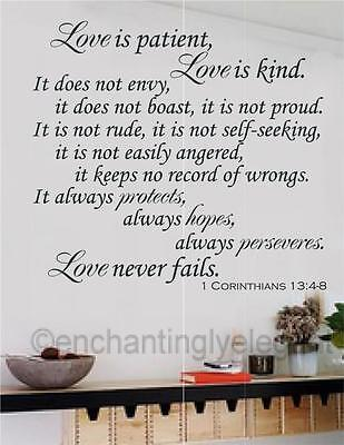 Love Is Patient Love Is Kind Bible Verse Vinyl Decal Wall Sticker Words Letters (Love Is Kind Love Is)